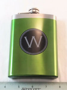 """METAL FLASK WITH """"W"""" INITIAL ON FRONT- NEW"""