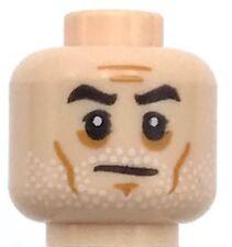 Lego New Light Flesh Minifig Head Beard White Stubble Black Eyebrows Cheek Lines