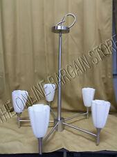 Portfolio 5 Light Hanging Chandelier Fixture Satin Nickel Murano Glass Shades