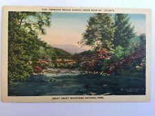 Postcard swinging bridge creek Mt. Leconte Great Smoky Mountains TN A7