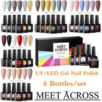 6 Bottles/Set MEET ACROSS Soak Off UV Gel Nail Polish Glitter Pure Color Art Kit