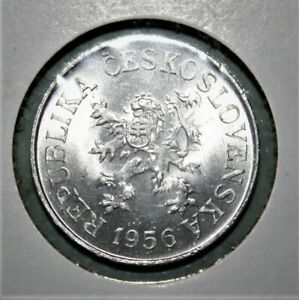 Czechoslovakia 10 Haleru 1956 Brilliant Uncirculated Aluminum Coin - Nice!!!
