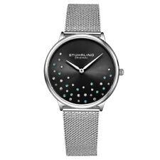 Stuhrling Original 3928 3 Quartz Crystal Accented Mesh Bracelet Womens Watch