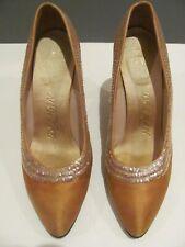 Vntg Delman New York Paris Orange Satin Women'S High Heels Sequin Trim 5 1/2 B