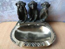 Vintage Original Soviet Bronze Figurine ashtray Monkeys Statue Sculpture USSR