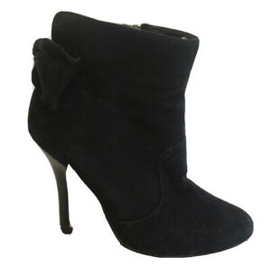 Top End Ankle Boots Size 35.5 Womens Black Suede Leather Heel