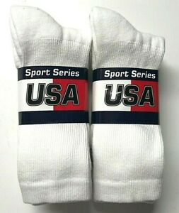 6 Pair Men HANES X-TEMP White Stretch Athletic Sport Crew Sock SZ 9-11,USA.