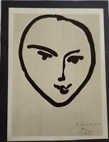 "Henri Matisse  ""Head (Tetede Face) "" Mounted Offset Lithograph 1973 PlateSigned"