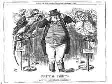 Political cartoon.Conservative.Liberal.John Bull. Antique.1881.Macaw.Cockatoo