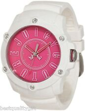 NEW-JUICY COUTURE SURFSIDE WHITE SILICON BAND+PINK+CRYSTAL DIAL WATCH #1900908