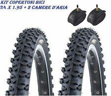 2 Copertoni MTB 24 + 2 Camere Bici Bicicletta Mountain Bike 24x 1.95 Gomme Bike