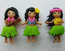 Aloha-Bailando Hawaii Hawaiian Hula Niñas Vestido para arriba Novedad Craft Botones