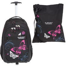 Schultrolley 2T Set Trolley Elephant Hero Sign 12680 Butterfly Pink +Sportbeutel