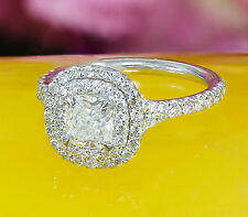 GIA G-VS2 18K WHITE GOLD CUSHION DIAMOND ENGAGEMENT RING SOLESTE STYLE 1.60CT