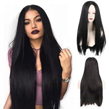 "28"" Long Black Synthetic Lace Front Wig Heat Resistant Straight Hair Womens Wig"
