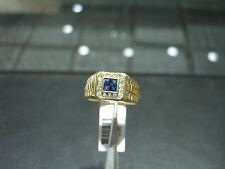 FINE NEW MEN'S DIAMOND & CEYLON SAPPHIRE HAND MADE YELLOW GOLD RING 14 KARAT!!!