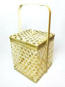 "7"" Bamboo Basket Gift Container Chalorm Thai Craft Handmade Wickerwork Decor"