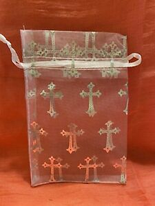 Christian sheer crosses Gift Bags White & Silver Med Size 6x4 Pull Tie To Close.