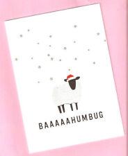 Sheep Lamb Bah Baaaaa Humbug Santa Hat Christmas Cards Box of 8 Printed in Us