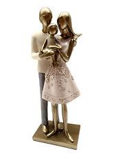Dekofigur Familie 24,5x10cm Figur antik gold Design Paar mit Kind Skulptur