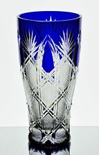 """Faberge Imperial Czar Cobalt Blue Cut to Clear Cased Crystal 10"""" Vase New Signed"""