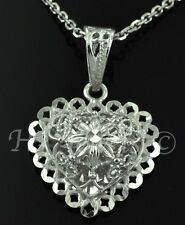 3-d  18k solid white gold  heart pendant  h3jewels #1828 2.40 grams