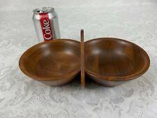 Vintage Black Walnut Handled Double Bowl Walnutware Ozark Native Wood Product