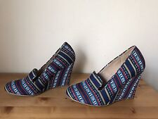CHELSEA CREW Canvas tribe print wedge pumps shoes sz 8