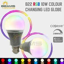 B22 10W RGB & Wihte LED Dimmable Light Bulb Globe Colour Changing Lamp + Remote
