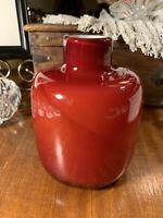 Mid Century Modern Hand Blown Encased Glass Ruby Studio Art Glass Vase~Choice~