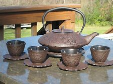 Tetsubin 40 oz. CAST IRON TEAPOT SET - INFUSER, 4 CUPS & 4 SAUCERS C58 Kettle