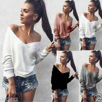 Womens Off Shoulder Loose Knitted Long Sleeve Jumper Sweater Ladies Tops Blouse