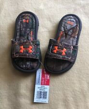Under Armour Boys' Ignite Camo Slides, Size 11K