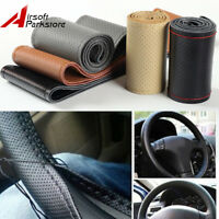 Genuine Leather DIY Car Steering Wheel Cover 38cm With Needles and Thread