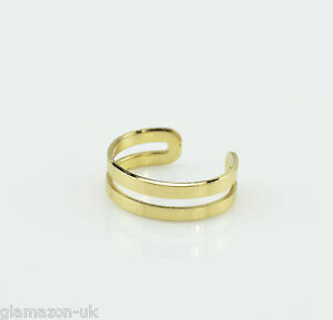 DOUBLE BAND ADJUSTABLE TOE RING GOLD TONE