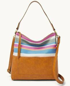 Fossil Amelia Hobo Crossbody Shoulder Bag Brown Blue Stripe SHB2605425 $198 FS