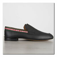GUCCI 730$ Authentic New Black Leather Loafer With Embroidered Ribbon