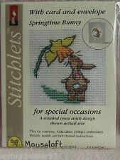 MOUSELOFT STITCHLETS CROSS STITCH KIT ~ SPRINGTIME BUNNY ~ CARD & ENVELOPE