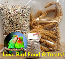 Love Bird Food & Treat Bundle! 5 lbs Feed 6 oz Millet w/Calcium & Mineral Bar!