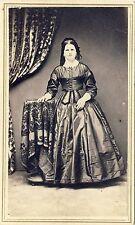 1860s Civil War Era CDV Photo Gorgeous Lady Stunning Beauty Full Standing Dress