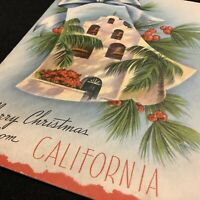 "#1969🌟Vintage 40s ""Merry Christmas From CALIFORNIA"" Mission Bells Greeting Card"