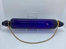 More details for vintage thomas webb bristol cobalt blue glass rolling pin & hanging chord l35cms