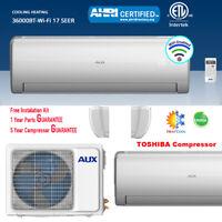 AUX 36000BTU Ductless Mini Split Air Conditioner Heat Pump 17SEER 230V 25FT