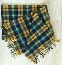 """NWT Mens ABERCROMBIE & FITCH Yellow Multicolor Wool Plaid Scarf Fringe 13""""x78"""""""