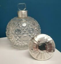 Antique 1913 British 925 Sterling Silver Cut Glass Crystal Perfume Scent Bottle