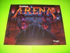 Arena Pinball Machine Translite Artwork Sheet Original NOS Gottlieb Premier 1987