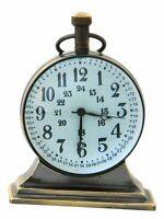 Vintage Maritime Brass Desk Clock Nautical Decor Collectible Table Top Clock