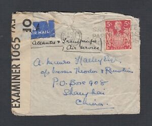 UK SCOTLAND 1940 WW2 5SH ISSUE CENSORED AIRMAIL COVER EDINBURGH - SHANGHAI CHINA