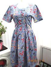 """""""variations"""" ladies pale blue floral summer cotton dress size 12"""