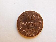 Poland 10 Groszy 1840-/ Królestwo Kongresowe - Mikołaj I/Bilon 0.1920 Silver/
